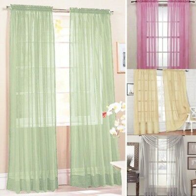 "Solid One Panel Sheer Curtain Window Drape 39"" x 79"" Long Rod Pocket Scarf Decor"