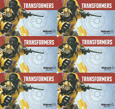 Lot Of (6) Transformers Walmart Gift Cards Collectible  No Monetary Value  No $