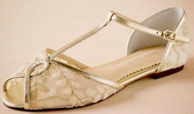 New BHLDN Bella Belle Ivory Gold MAISIE Embroidered T-Strap Flats Sz 9 $190