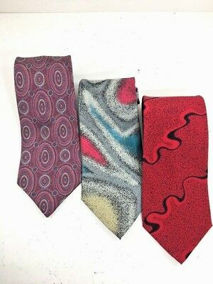 "Set Of 3 Mens Italian Silk Neck Ties X Lips 56"" 58"" length 4"" width 3.5"" width"