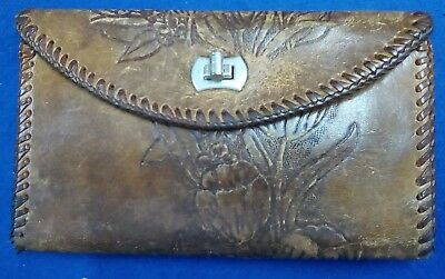 Brown Leather Hand-Tooled Wallet with Business Card Slots