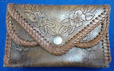Leather Hand-Tooled Brown Wallet with Double Stud Closure