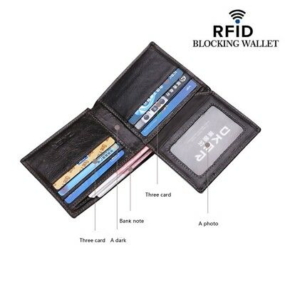 RFID Blocking Slim Wallet For Men Genuine Leather Secure Bifold W 8 Card Slots