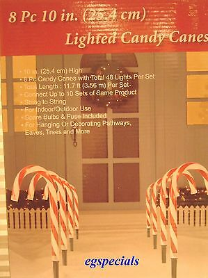 "Set Of 8 Christmas Candy Cane Stakes/pathway Lights ~11.7 Ft Long 10"" High"