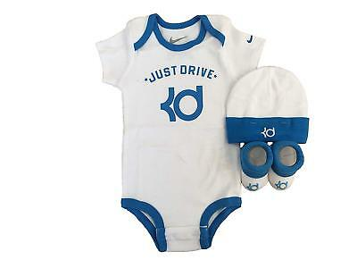 New Nike Baby 3 Piece Infant Layette Set 0-6 Months Blue White HADDAD