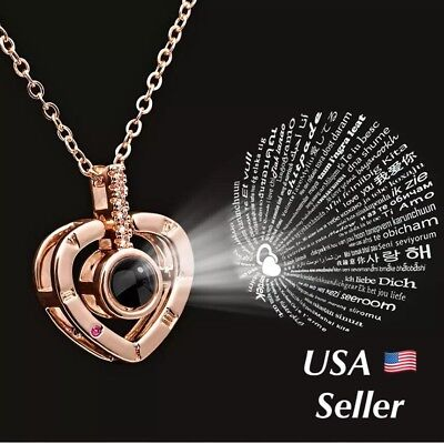 100 Languages Light Projection I Love You Heart Pendant Necklace Lover+Pouch 151