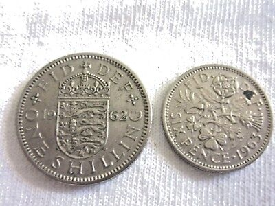 Lot Of 2 U.k.coins- 1962 One Shilling  & 1963 Six Pence Coins./eliz.ii ..#7.8/68