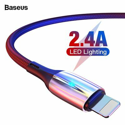 Baseus Braided LED Lightning USB Fast Charging Data Cable for iPhone X 8 7 iPad