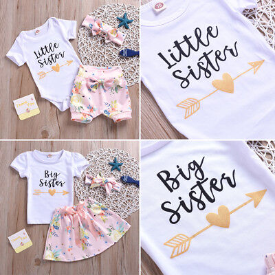 3PCS Baby Girls Little Sister Romper Shortss Kid Big Sister T Shirt Dres Outfits
