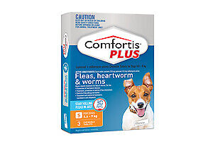 Comfortis Plus for Dogs Flea Heartworm Worms ORANGE 4.6 - 9kg 1,2, 3 Pack,6 Pack