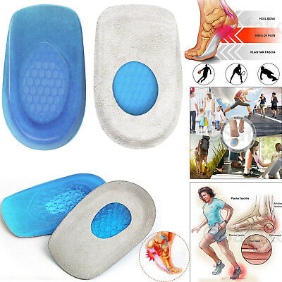 Men Women Silicone Heel Support Shoe Pads Gel Orthotic Plantar Care Inserts NEW