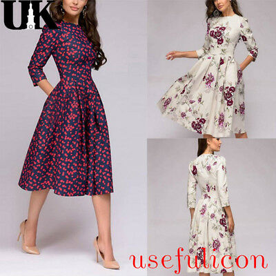 Womens Floral Retro Midi Dress Ladies Evening Cocktail Party Formal Prom Gown UK