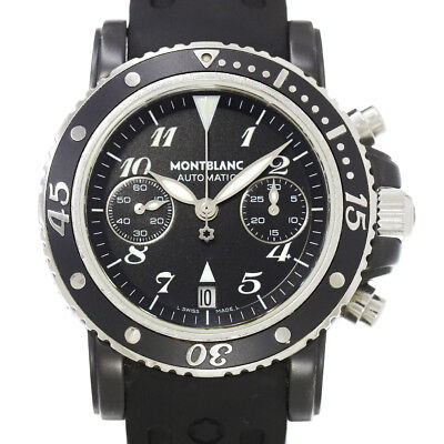 939e21f6b59 Auth MONTBLANC Meisterstuck Sports Chronograph Black Dial 7044 Mens 90045919