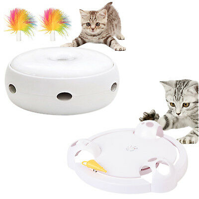 Electric Pet Cat Interactive Funny Catching Mouse Feather Kitten Rotating Toy