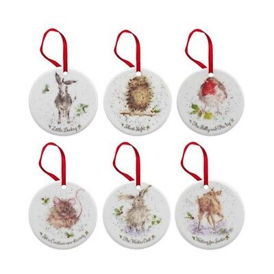Royal Worcester Wrendale Christmas Tree Decorations - Set of 6 - New Boxed