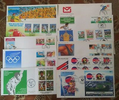 New Zealand sports cricket soccer athletics 10 FDC First Day Covers LOT