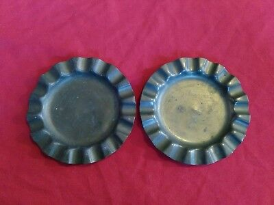 PAIR OF Antique or Vintage Brass Ash Trays saclloped edge