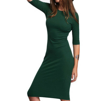 Casual Women Solid Color Bodycon Green Crew Neck Half Sleeve Midi Dresses LH