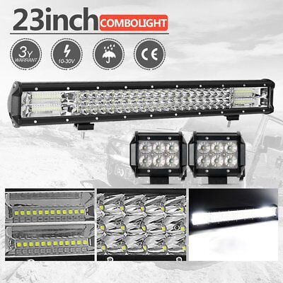 23inch CREE LED Light Bar Spot Flood Driving Lamp Offroad 4WD 4x4 + 4inch Flood