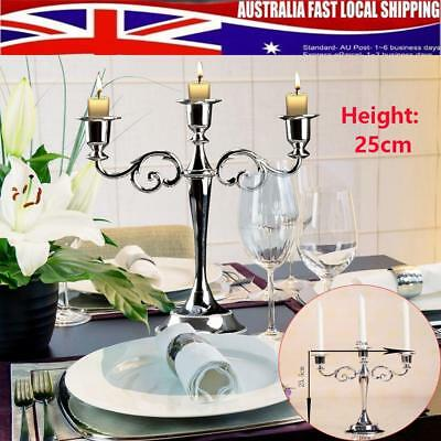 3 arms Silver Metal Candle Holder Stand Candlesticks Candelabra Wedding Home AU