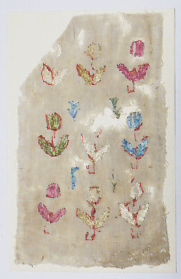 16-17C Antique Textile Fragment -Dyeing and Weaving, Embroidery, Colorful Flower