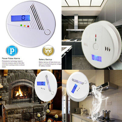 CO Carbon Monoxide & LCD Smoke Detector Alarm Poisoning Gas Warning Sensor White
