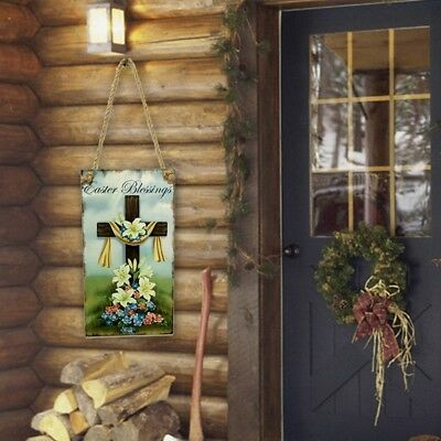 Wall Hanging Plaque Easter Sign Home Cross Religious Spring DIY Decor Wooden New
