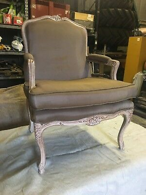 Lovely French Vintage limed Oak  needlepoint Armchair in the style of louis XV.