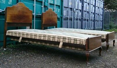 Matching Pair of Antique Mahogany Single Vono Beds with Original Sprung Bases