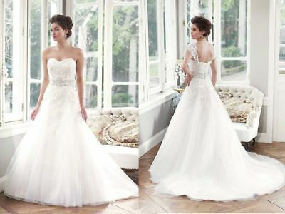 White/Ivory Lace Princess Pageant Wedding Dress Bridal Gown Custom Size 6-16 +++