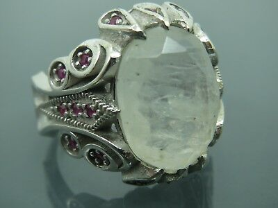Turkish Handmade Jewelry 925 Sterling Silver Moonstone Men's Ring Sz 10