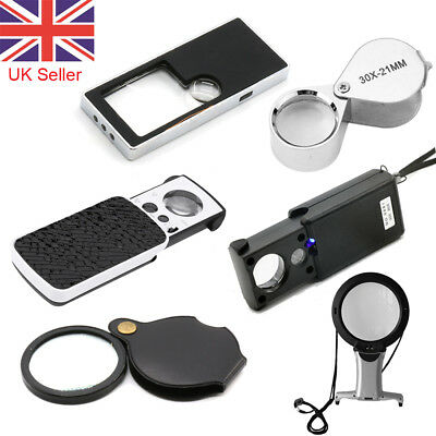 Pocket Magnifier Glass 3X5X 6X 10X 30X 60X 90X Jeweller LED Magnifying Eye Loupe