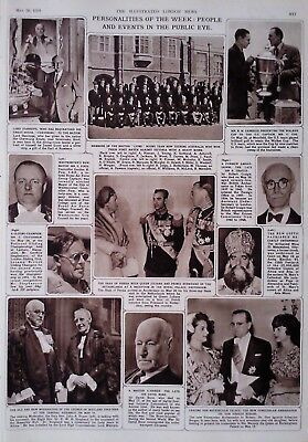 1959 Print Shah Of Persia & Queen Juliana-British Lion's Rugby Team To Australia