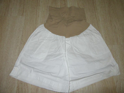 Womens Oh Baby By Motherhood Maternity Shorts Size L White Secret Fit Belly