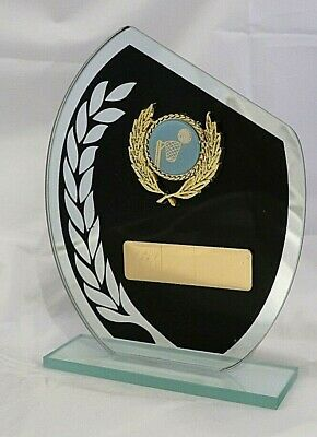 Netball Glass Black Wreath Trophy 165mm Engraved Free