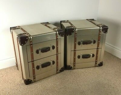 PAIR of Small Aluminium Loft / Industrial Vintage Bedsides / CHEST OF DRAWERS