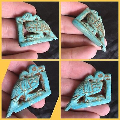 Rare ancient Egyptian blue faience bird amulet , 300 bc