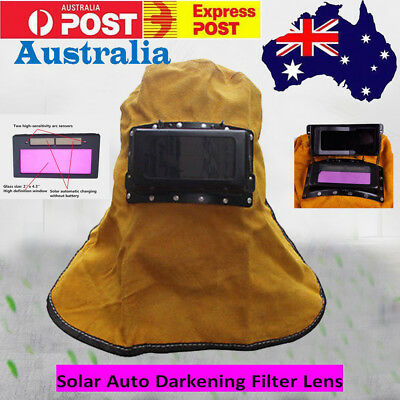 LEATHER Hood Solar Auto Darkening Welding Helmet Arc Tig Glossy Mask Filter Lens