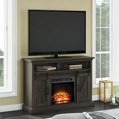 Tv Stand Electric Fireplace Barn Door Rustic Media Center Console