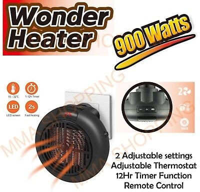 🔥900W Mini Space Heater Fan Portable Plug-in Electric Wall-outlet Warmer Remote