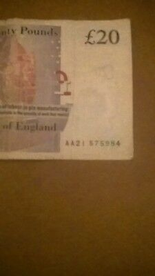 rare paper £20 pound note  british AA serial number