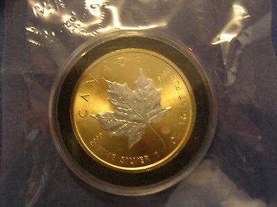 2014 Canadian Maple Leaf Coin .999 Fine Silver 24K Gold Gilded