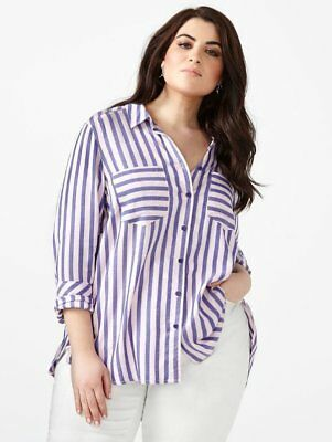 05425ee93a9 New Melissa Mccarthy Seven7 Purple Pink Striped Button Up Shirt Blouse Top  2X