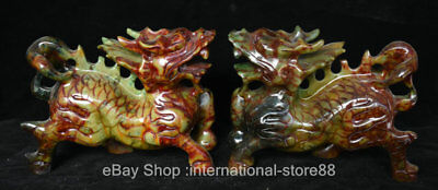 "7.6"" China Old Xiu Jade Carving Feng Shui Qilin Kylin Dragon Beast Statue Pair"