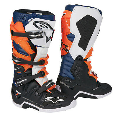 Alpinestars Motocross-Stiefel Tech 7 Schwarz/Orange/Weiß/Blau