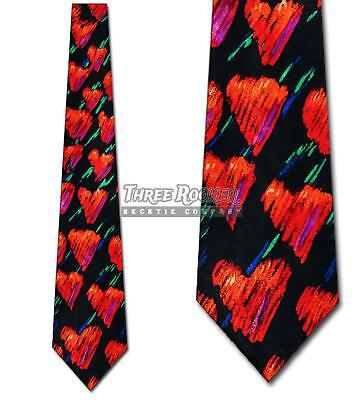 Valentine's Day Ties Colored Hearts Allover Tie Valentines Hearts Mens Neck Tie