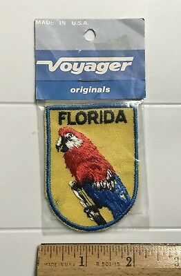 NIP Florida Parrot Macaw Tropical Bird FL Souvenir Voyager Embroidered Patch