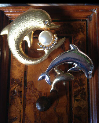 Rare! Vintage Couple Dolphins Brooches Coppia Spille Delfini Faux Pearl