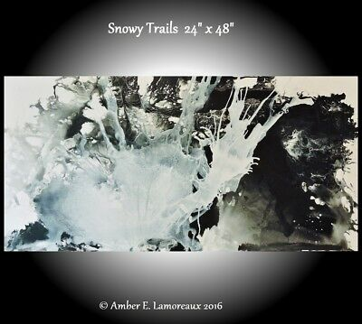 Original Abstract Art Painting, Modern Black and White Abstract, Contemporary