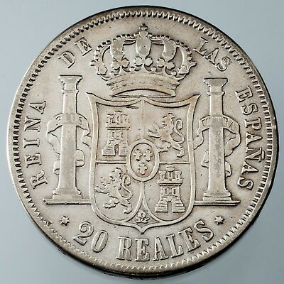 1854 Spain 20 Reales Silver Coin Madrid Mint Fine Condition KM #593.2